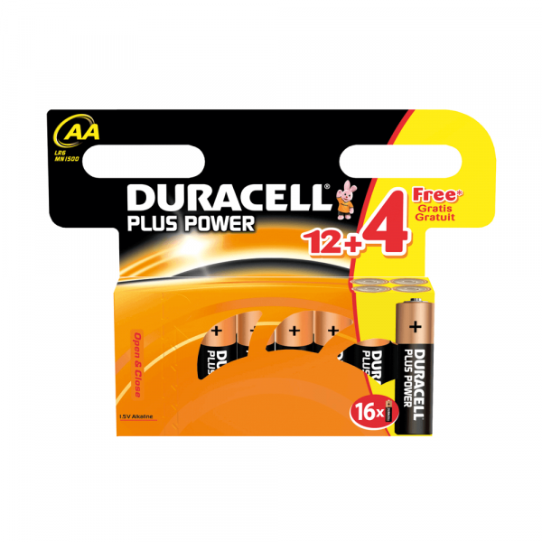 Duracell Plus Power Batterien 12+4 Pack AA